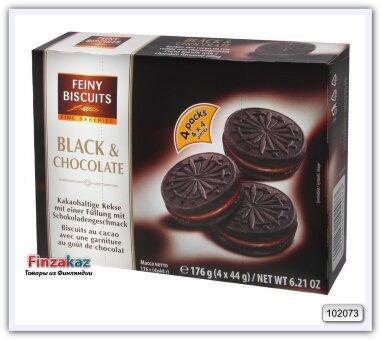 Печенье «Вlack & Сhocolate» с какао и кремовой начинкой с шоколадным вкусом, 176 г