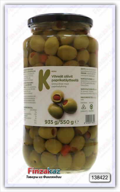 Оливки с паприкой k-menu 935 гр/550 гр