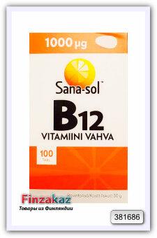 """Витамин B12 """"Sana-sol 1000 мкг """"  Vitamiini Vahva vahva 100 таб"""