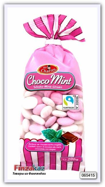 Шоколадное драже в сахарной глазури с мятным вкусом Sir Charles Chocolate dragees 200 гр