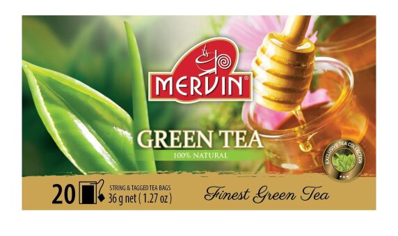 Зеленый чай цейлонский Mervin Ceylon Vihreä tee Hunaja (мёд) 20 шт