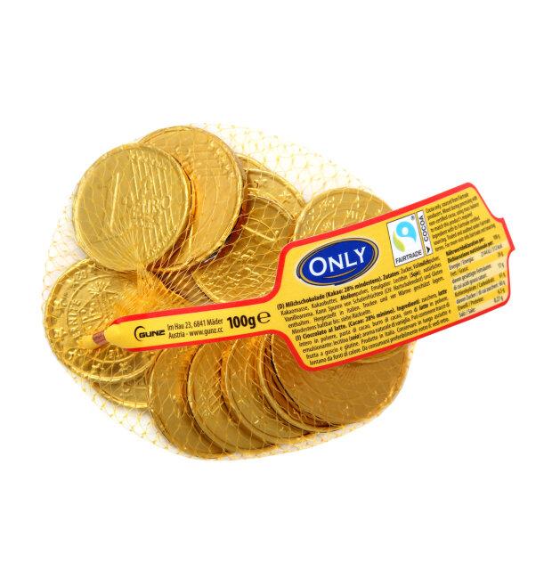 """Молочный шоколад  фигурный """"Золотые монеты"""" Only 100 гр"""