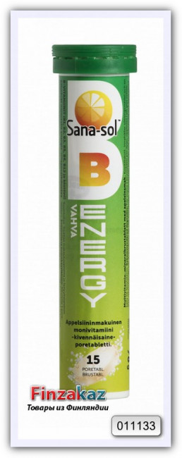 Мультивитаминные шипучие таблетки со вкусом апельсина Sana-sol B-Energy Monivitamiini Poretabletti Appelsiininmakuinen, 15 шт