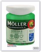Рыбий жир с витаминами А и Д Moller Omega-3 & Vitamiinit A-D 120 капсул