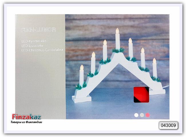 Рождественская горка-подсвечник со светодиодными свечками Finn-Lumor (красная)