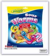 """Жевательные конфеты с фруктовым вкусом """"Кислые червячки"""" Woogie 250 гр"""