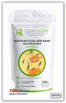 Морская соль для ванн натуральная Clean Home SPA-эффект ( с экстрактом мёда и зелёного чая) 1 кг