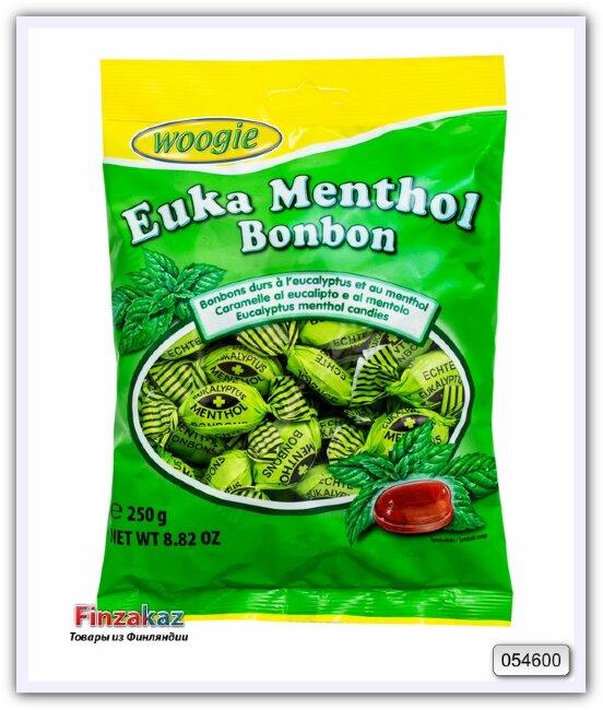 Леденцовая карамель с ароматом эвкалипта и ментола Woogie Bonbons Euka Menthol 250 гр