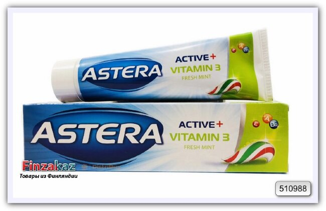 Зубная паста с витаминами Astera Active+ Vitamin 3 Fresh Mint 100 мл