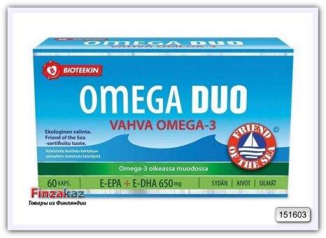 Bioteekin Omega Duo Vahva, Омега-3 с витамином Е для сердца и мозга, 60 кап