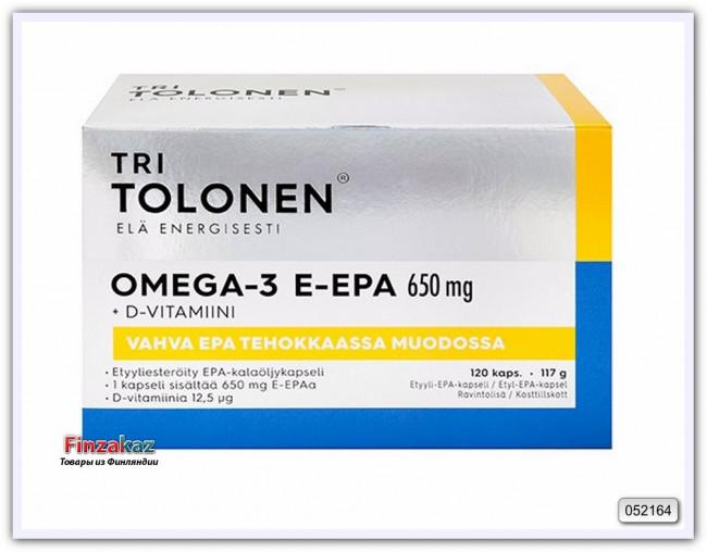 Витамины Омега-3 E-EPA 500 мг 70% EPA + 5 мкг (микрограммов) природного витамина D3 120 капсул Tri Tolonen