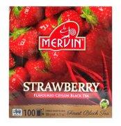 Чай чёрный Mervin Ceylon Black Tea Strawberry (клубника) 100 пак