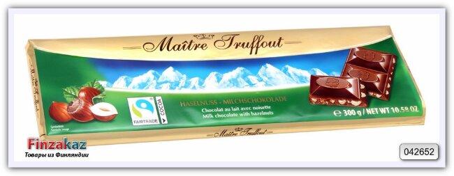 Молочный шоколад с дробленым фундуком Maitre Truffout 300 гр