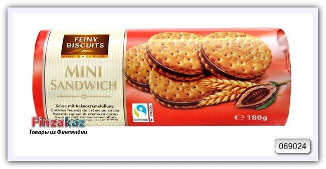 Печенье мини-сэндвич с начинкой из какао-крема Feiny Biscuits 180 гр