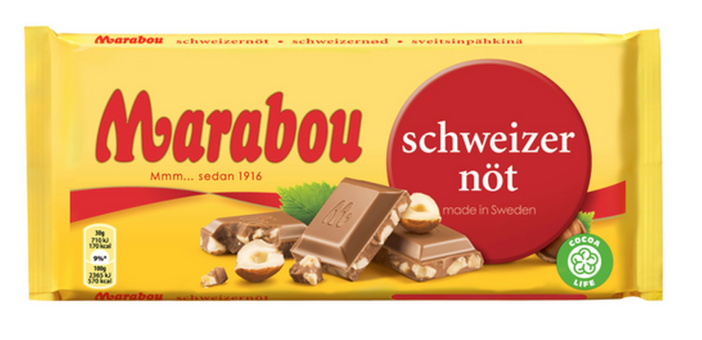 Шоколад Marabou Schweitzer Not Milk Chocolate with Hazelnuts (фундук) 200 гр
