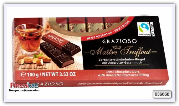 """Темный шоколад с начинкой со вкусом """"Amaretto"""" в мини-батончиках Maitre Truffout 100 гр"""