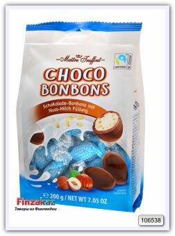 Конфеты из молочного шоколада с орехово-молочной начинкой и дробленным фундуком, Maitre Truffout  200 гр