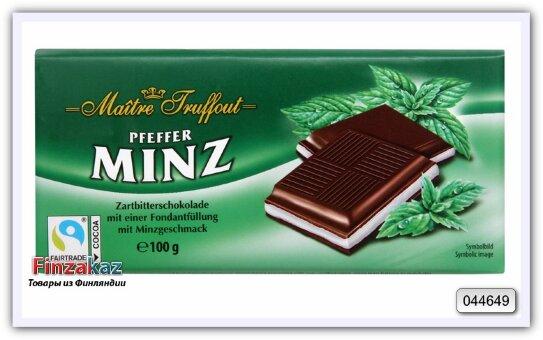 Шоколад  с помадной начинкой со вкусом мяты Maitre Truffout 100 гр
