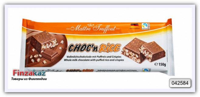 Молочный шоколад с воздушным рисом и пшенично-рисовыми хлопьями Maitre Truffout Choc'n Rice 150 гр