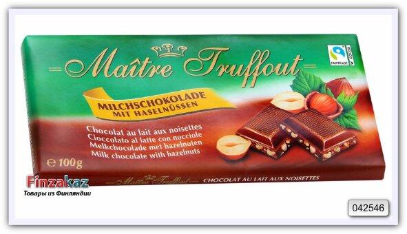 Молочный шоколад с дробленым фундуком, Maitre Truffout 100 гр
