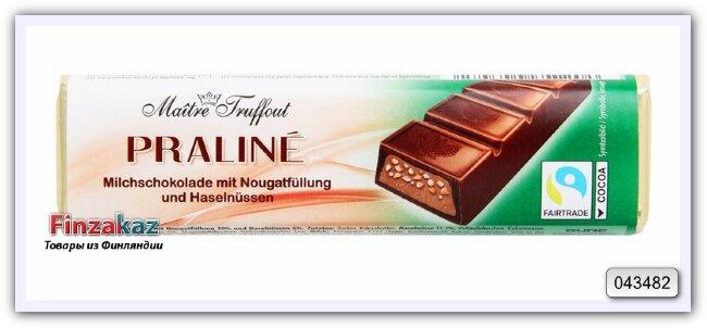 Шоколадный батончик с нугой и лесным орехом Maitre Truffout 75 гр