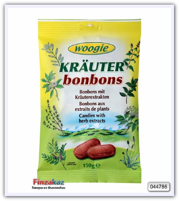Карамель леденцовая с экстрактом трав Woogie Herb candies 150 гр