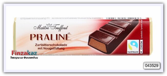 Шоколадный батончик из тёмного шоколада с начинкой из нуги Maitre Truffout 75 гр