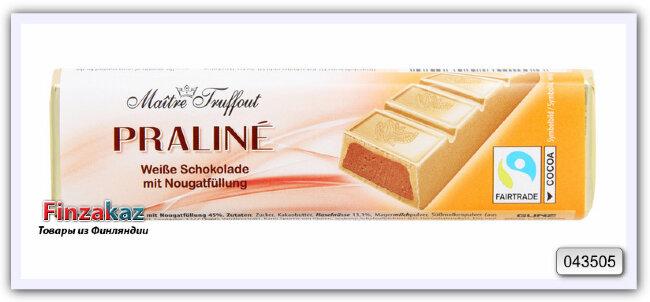 Шоколадный батончик из белого шоколада с начинкой из нуги Maitre Truffout 75 гр