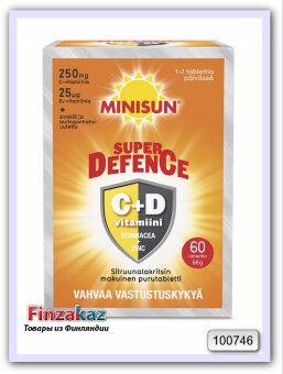 "Minisun Defence витамины C и D3 ""25мкг""  60 шт"