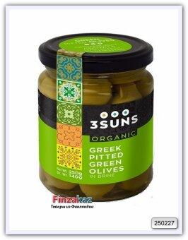 Оливки зелёные греческие без косточки 3 SUNS 250 гр