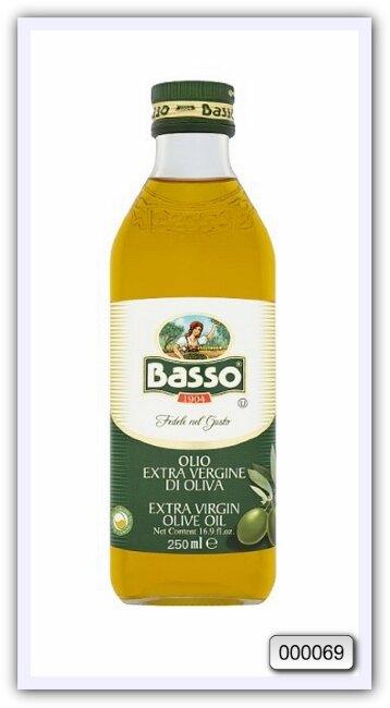 Масло оливковое нерафинированное высшего качества Basso extra virgin olive oil 250 мл