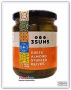Оливки зелёные греческие, фаршированные миндалём 3 SUNS 250 гр
