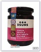 Оливки Kalamata греческие цельные с добавление оливкового масла 3 SUNS 250 гр