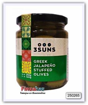 Оливки зелёные греческие, фаршированные перцем халапеньо 3 SUNS 250 гр