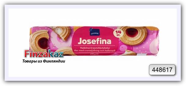 Печенье Rainbow Josefina vadelma-kreemitaytekeksi ( с малиновой начинкой) 175 гр