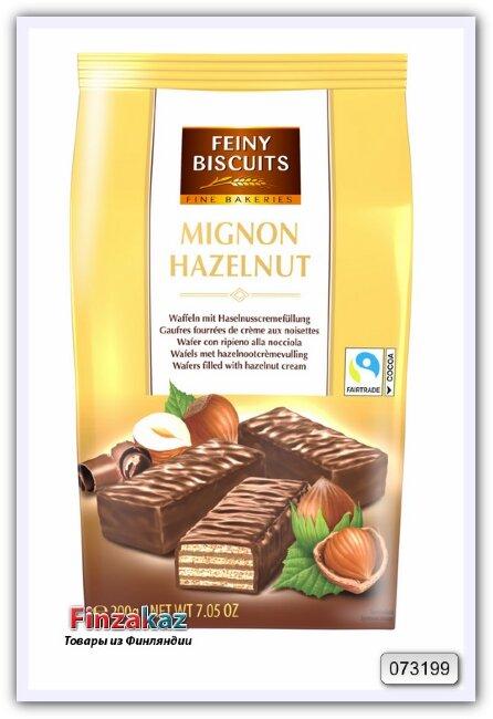 Вафли с орехово-кремовой начинкой в какао глазури Mignon wafers filled with hazelnut cream 200 гр