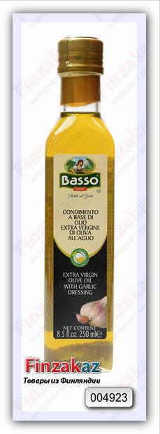 Масло Basso оливковое нерафинированное высшего качества, ароматизированное (чеснок) 250 мл