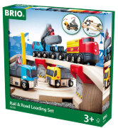 Железная дорога с автодорогой и переездом BrioRail & Road (Набор Поездов)