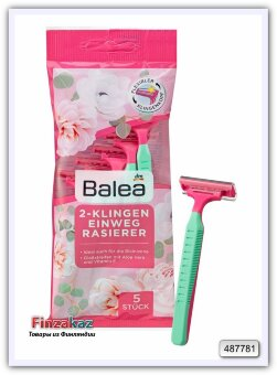 Станок для бритья одноразовый с 2 лезвиями с алое-вера и витамином Е Balea 5 шт