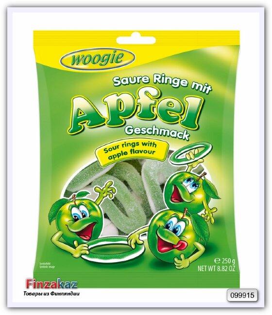 """Жевательные конфеты со вкусом яблока """"Кислые кольца"""" Woogie Foam-sugar gummi apple rings sour 250 гр"""