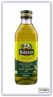 Масло оливковое рафинированное из выжимок с добавлением масла оливкового нерафинированного Basso Pomace Olive Oil 250 мл