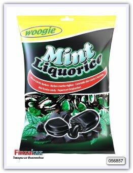 Конфеты с ароматом мяты и начинка из лакрицы Woogie Candies mint licorice 250 гр