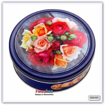 Сливочное печенье  и сливочное печенье с кусочками шоколада «Роза»Butter Cookies rose tin 454 гр