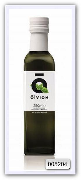 Масло оливковое нерафинированное высшего качества Olvion, с добавлением натурального экстракта базилика 250 мл