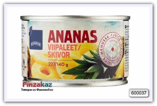 Ананас, колечки в ананасовом соке Rainbow Ananasviipaleet ananasmehussa 227/137 гр